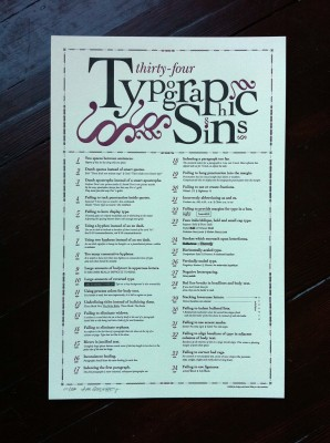 34 Typographic Sins Letterpress Poster by Jim Godfrey