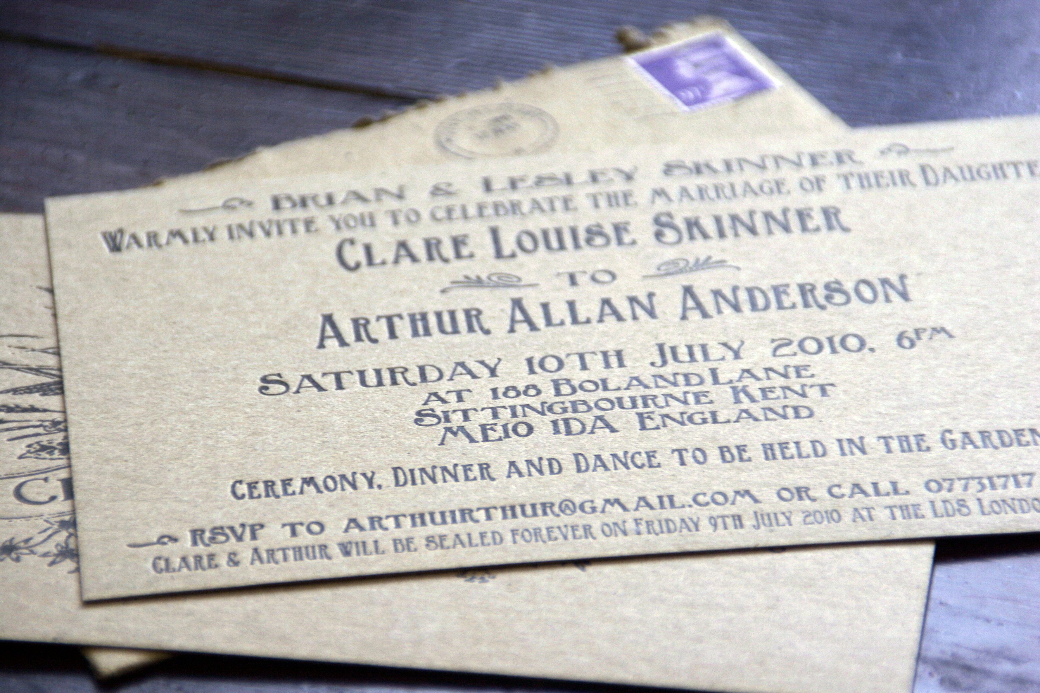 Wedding Invitation Information Card | Rowley Press Blog
